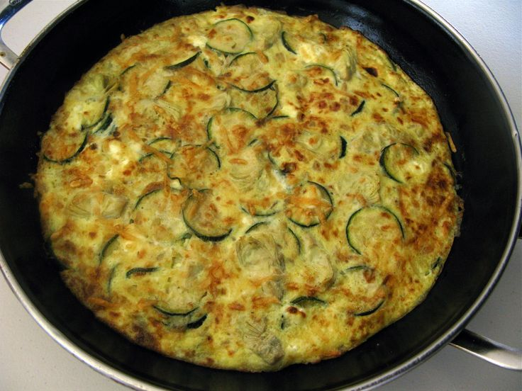Caramelized Onion Frittata with Artichoke Hearts, Zucchini and Goat C ...