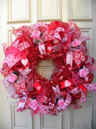 valentine heart mesh wreath