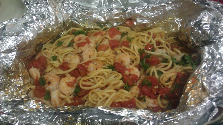 Shrimp pasta in a Foil package! Came out Delicious! ~recipe on my ...