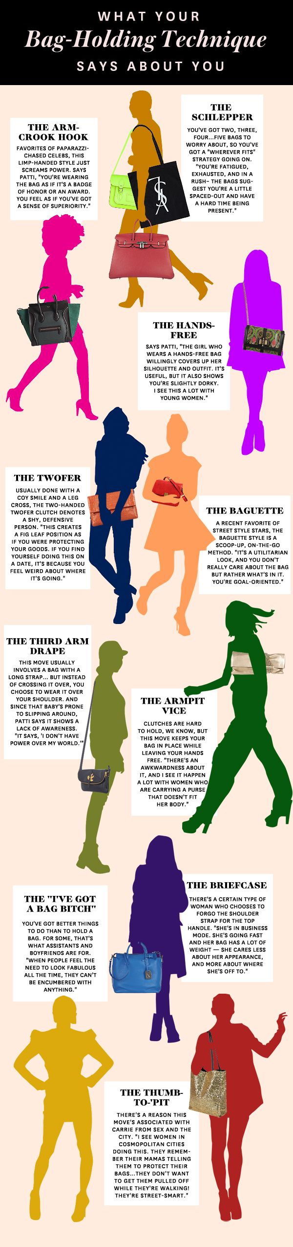 What Your Bag-Holding Style Says About You. I'm a Thumb-Pit because I am a paranoid Capricorn... ;)
