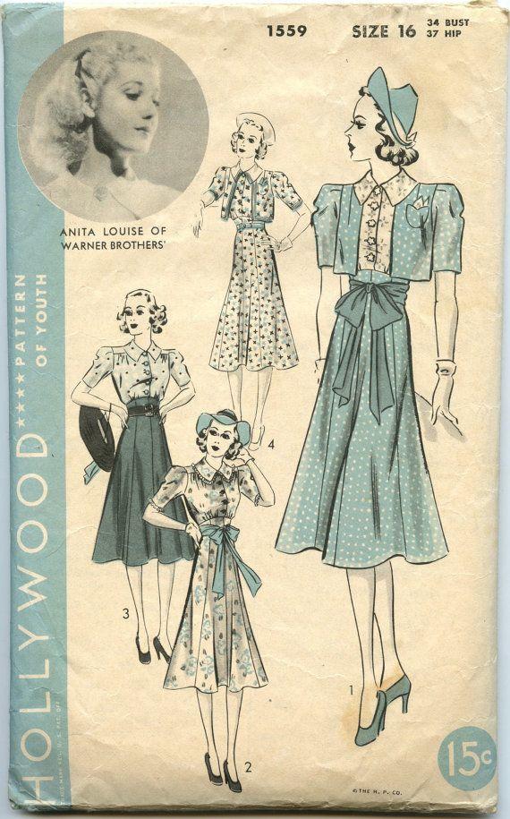 1930s Dress Vintage Sewing Pattern Hollywood 1559 Misses ...