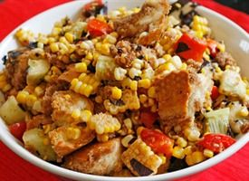 Balsamic Tomato, Corn and Cucumber Panzanella Salad. Panzanella is a ...