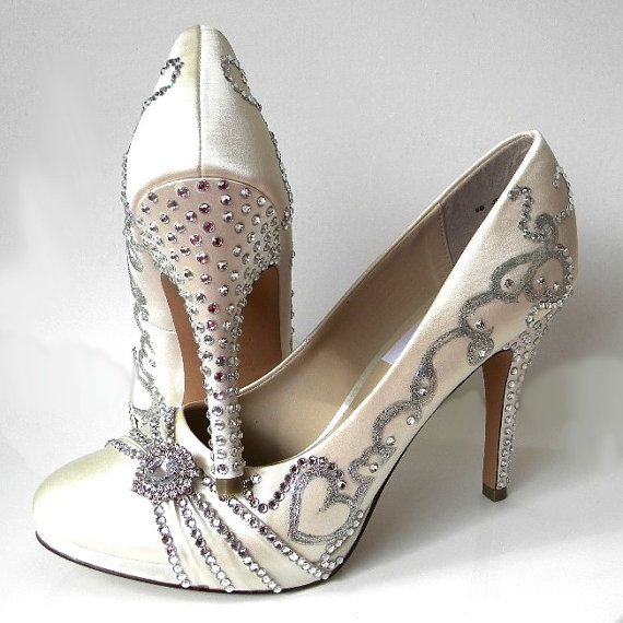 wedding shoes silver filigree rhinestones heels bling by norakaren