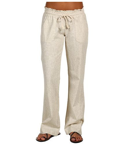 Wonderful Roxy Ocean Side Wide Leg Pant Womens Beach Pants Smocked Elastic Waistbadn With Drawcord Twin Hip Pockets Twin Back Patch Pockets 33 Inseam Length 55% Linen 45% Viscose Imported Vendor Style  ERJX603069 Size &amp
