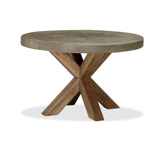 ABBOTT CONCRETE TOP ROUND FIXED DINING TABLE PALMETTO ARMCHAIR SET