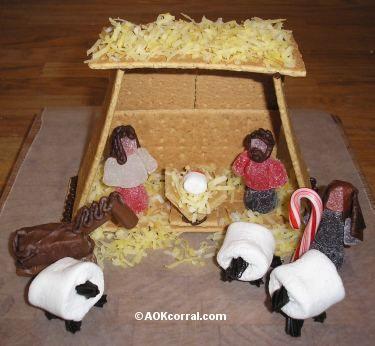 Graham Cracker Nativity - Marshmallow sheep, tootsie roll horse, gum drop people... cute!