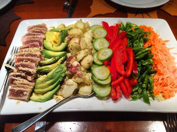 ... avocado, lemony potato salad, crunchy veg, and ginger-sesame carrot
