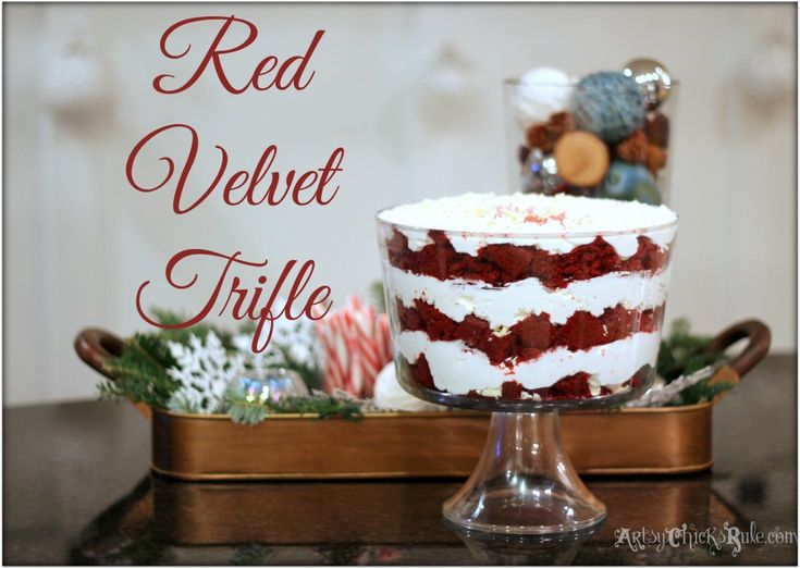 ... Trifle for the Holidays - Recipe #redvelvet #trifle Sooo easy