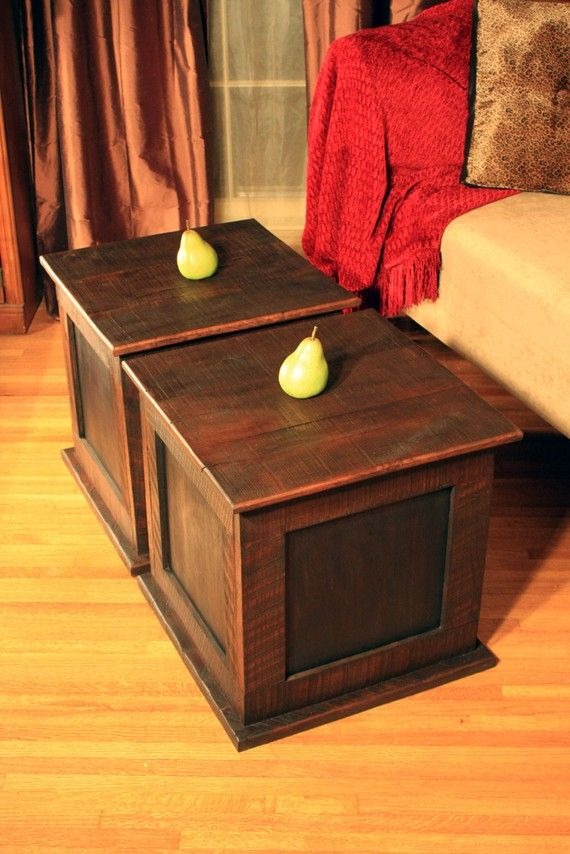 Storage Cube Coffee Table Reclaimed Wood Rustic Contemporary Java