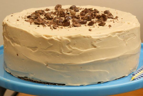 Pecan espresso birthday cake with coffee frosting!