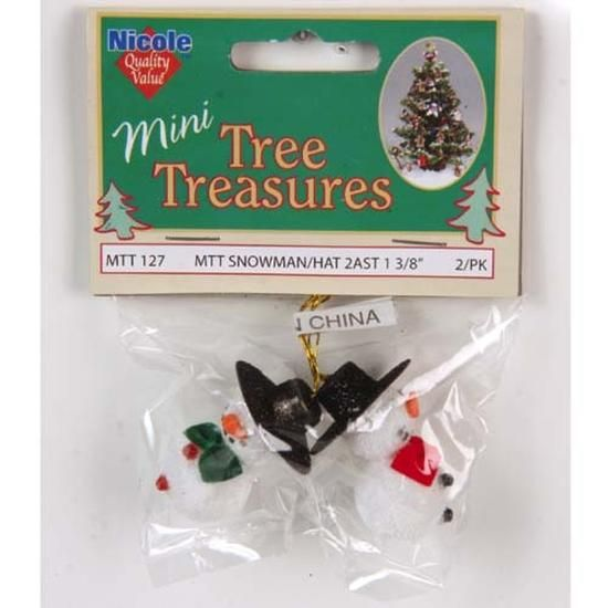 Miniature Snowman Ornaments with Hats