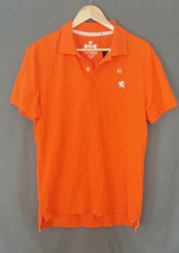 Express Men 39 S Fitted Polo Shirt Bright Orange Size Large Nwt