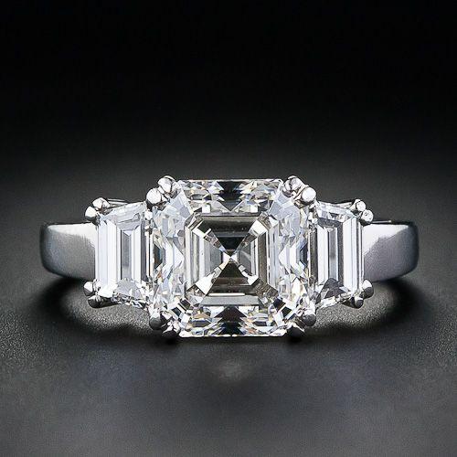 3.20 carat, G color, VS2 clarity, asscher cut diamond engagement ring