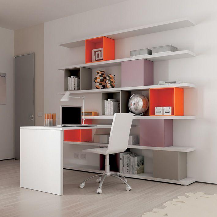 ... bianco #Wallbox a giorno laccati arancia e tortora, con anta laccati