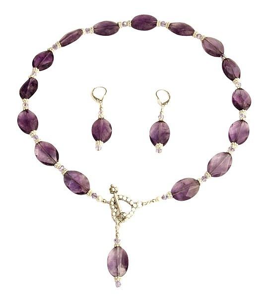 amethyst violet gemstone beaded necklace set
