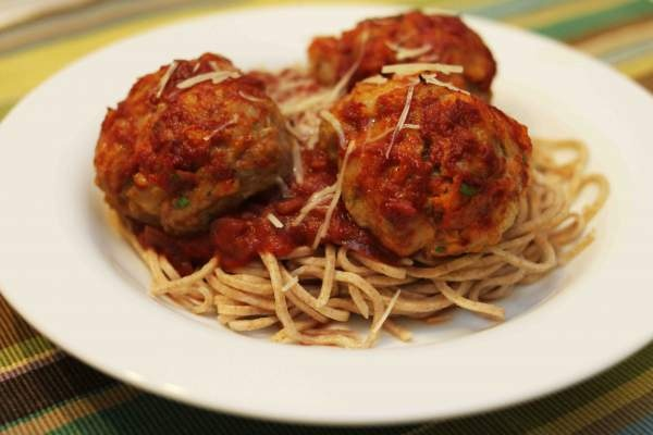 baked chicken meatballs and spaghetti | Savory! | Pinterest