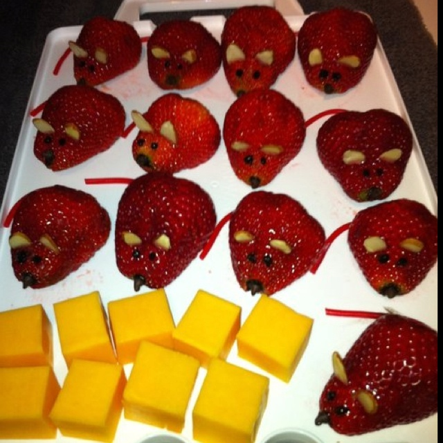 Strawberry mice and cheese! | Food | Pinterest