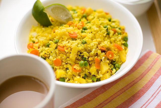 carrot pea poha | recipe box | Pinterest