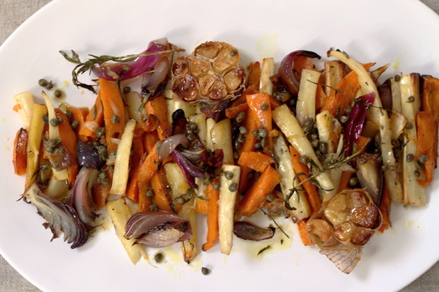 Roasted Parsnip and Sweet Potatoes with Caper Vinaigrette