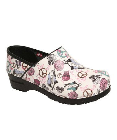 Take a look at this White Skull & Rose Professional Heather Clog