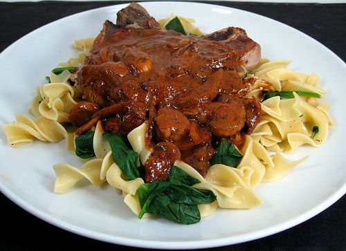 Pork Chops With Mushroom Bourbon Cream Sauce Recipes — Dishmaps