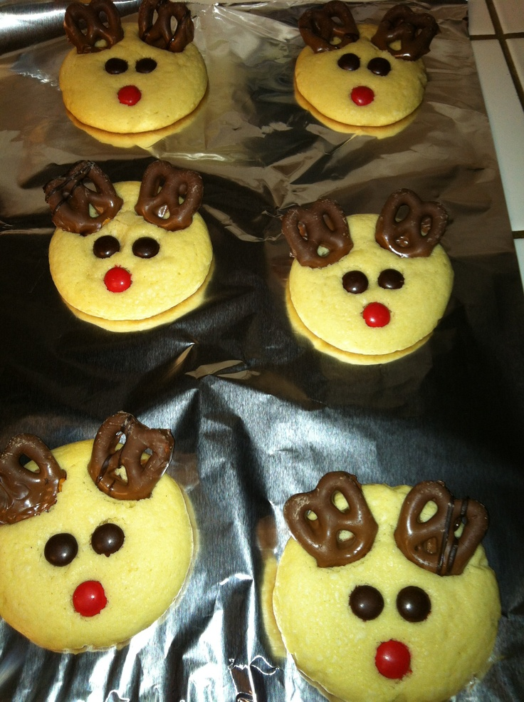 ... cookies i made tonight turned into Rudolph the red nose reindeer