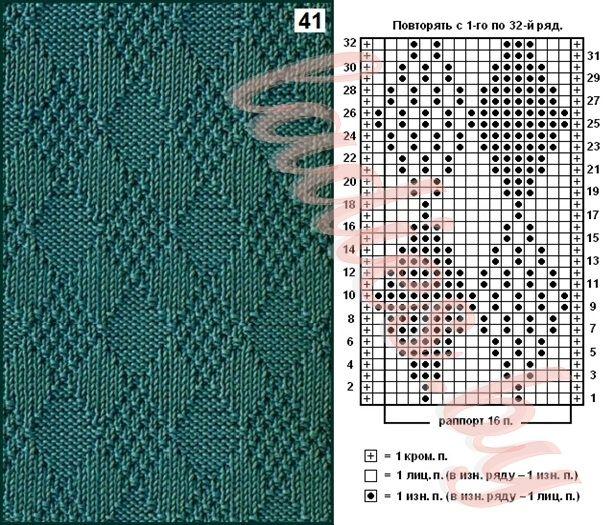 Схема вязания ромбов на изнаночной