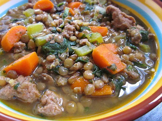 Lentil, sausage & vegetable Stew - Good with turkey sausage