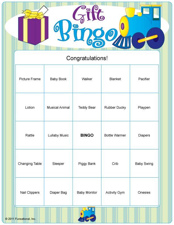Baby Gift Bingo : Baby shower gift bingo ideas