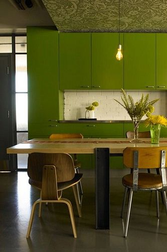 We're giddy over olive green accents  Mid Century Contemporary  Pin