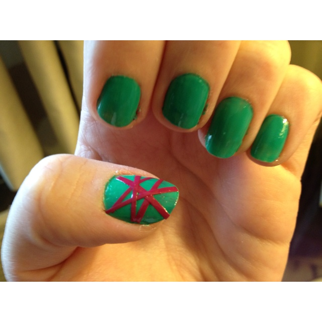 Fun nail design using painted scotch tape for the lines!