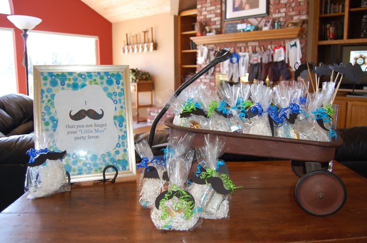 little man themed baby shower party favors bubble gum cigars and a