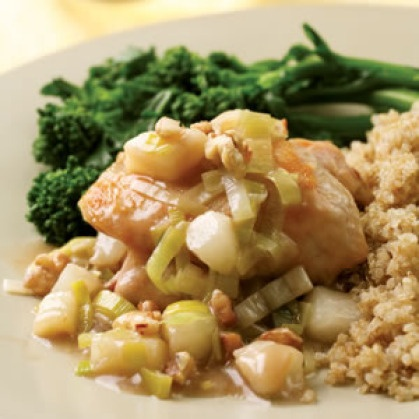 Chicken Thighs with Pear & Leek Sauce | A Delicious Feast | Pinterest