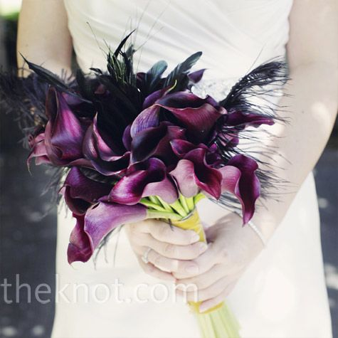 Calla Lily and Feather Bouquet
