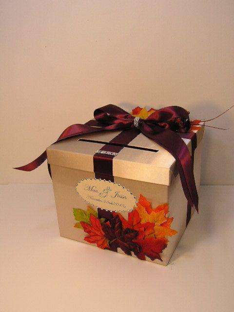 Fall Wedding Gift Card Box : Fall Wedding Card Box Gift Card Box Money Box Holder-Customize/made t ...