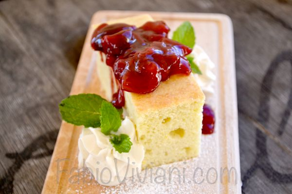 Olive Oil Cake, Cherry Compote, Whipped Cream