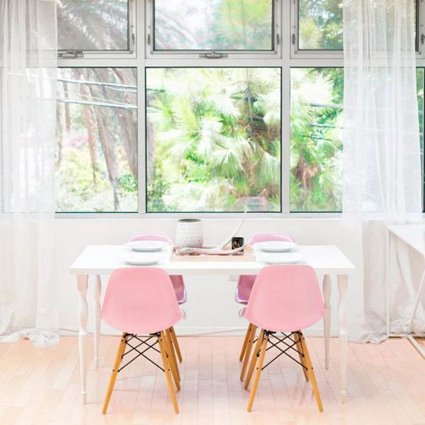 Colorful nordic interior house dining table