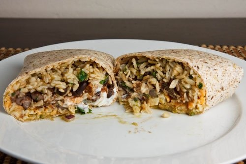 Burrito with cilantro and lime brown rice, seasoned black beans ...
