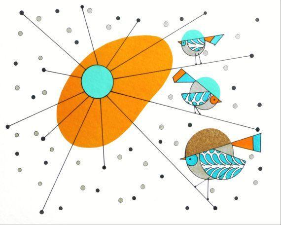 mid century atomic clip art | Atomic Mid Century Modern Bird Print ...