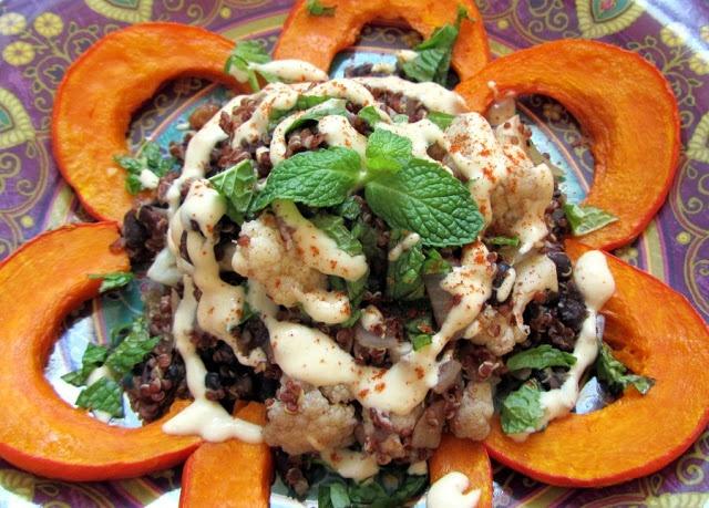 Quinoa Pilaf with Spiced Miso Tahini Sauce
