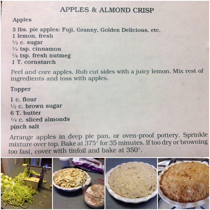 Apple & Almond Crisp - the easy way - Thanks Michele.