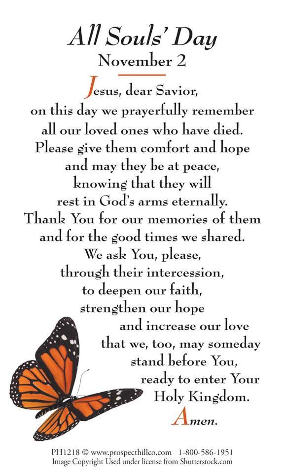 All Souls Day prayer Catholic Prayer Pinterest