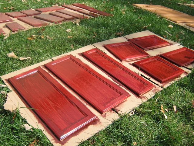 Restaining cabinets