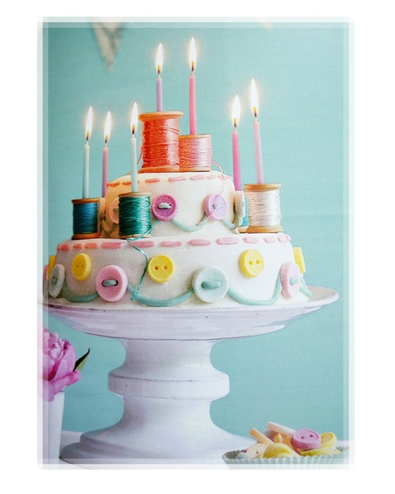 Creative Button Sewing Birthday Cake With Candles