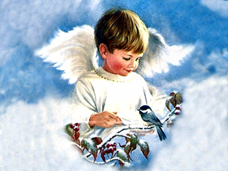 Рисунок ангелочек с подарком 28