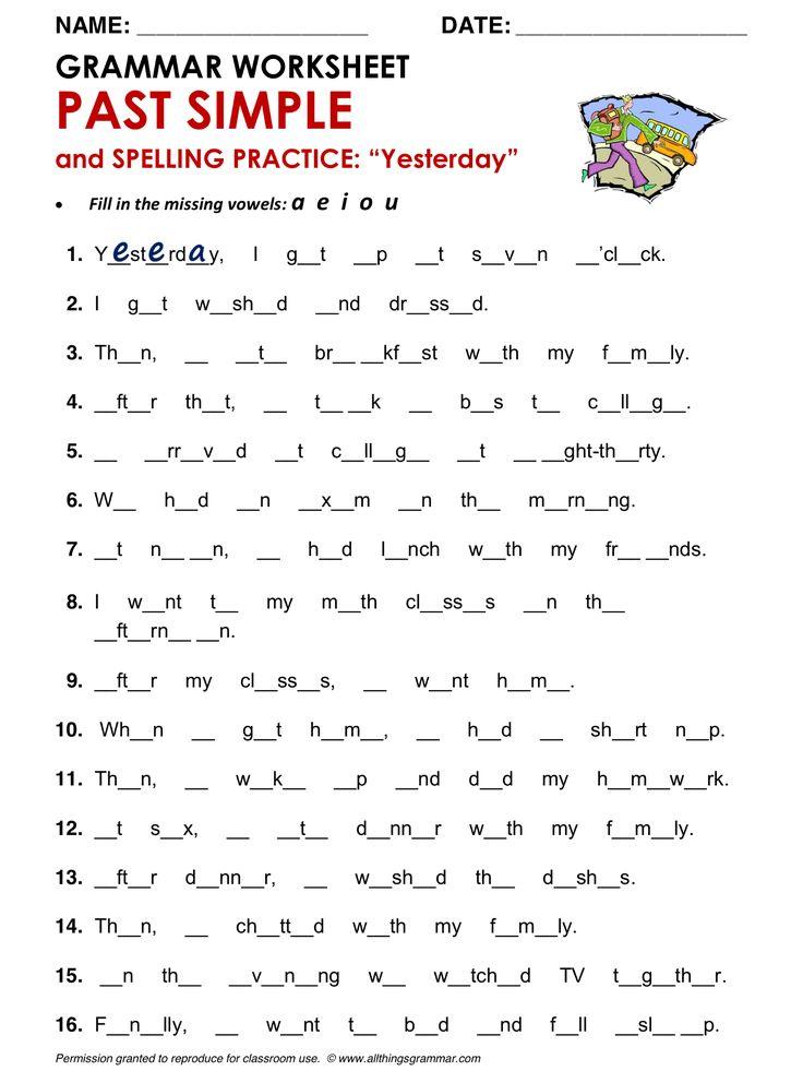 English grammar worksheets for grade 4 verbs