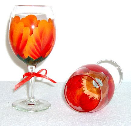 Orange and red iris wine glass hand by conniescreations2010 9 00