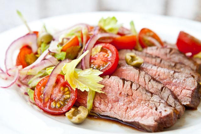 Flank Steak with Bloody Mary Tomato Salad | Recipe