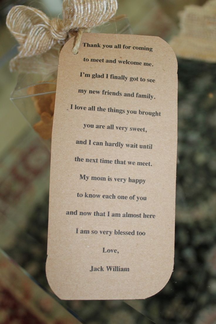 baby shower thank you poem attached to favor