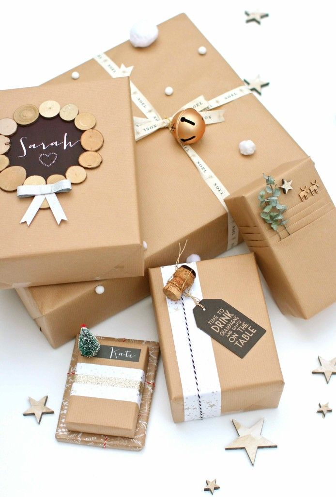 Подарки в крафтовой бумаге